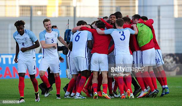 The England team celebrate after being crowned champions during the Final of the Toulon Tournament between England and France at Parc Des Sports on...
