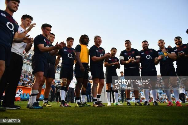 The England team celebrate after the International Test match between Argentina and England at Estadio San Juan del Bicentenario on June 10 2017 in...