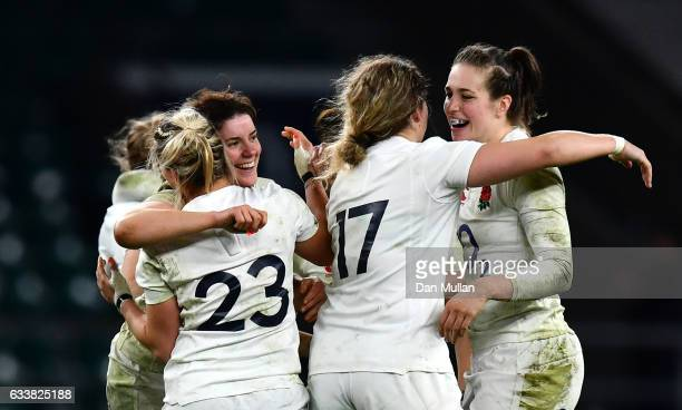 The England team celebrate after the Women's Six Nations match between England and France at Twickenham Stadium on February 4 2017 in London England