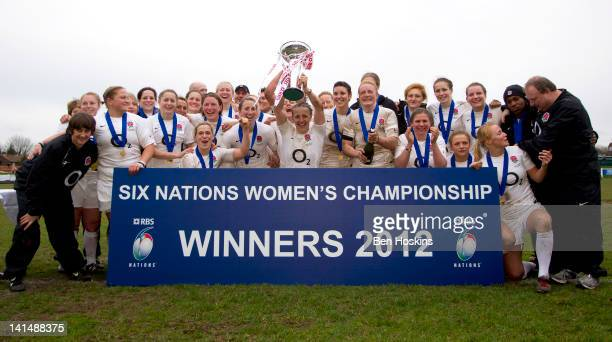 The England team celebrate after winning the Women's Six Nations Championship during the Womens Six Nations match between England Women and Ireland...
