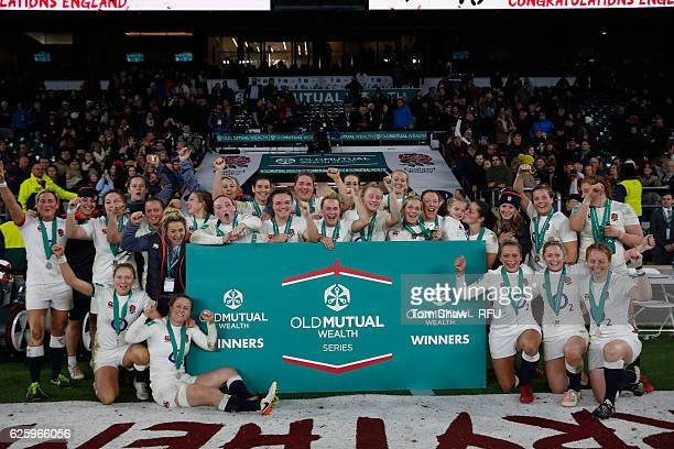 The England team celebrate during the Old Mutual Wealth match between England Women and Canada Women at Twickenham Stadium on November 26 2016 in...