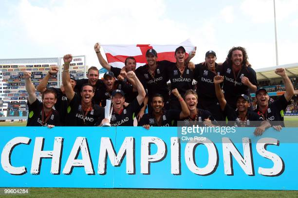 The England team celebrate winning the final of the ICC World Twenty20 between Australia and England at the Kensington Oval on May 16 2010 in...