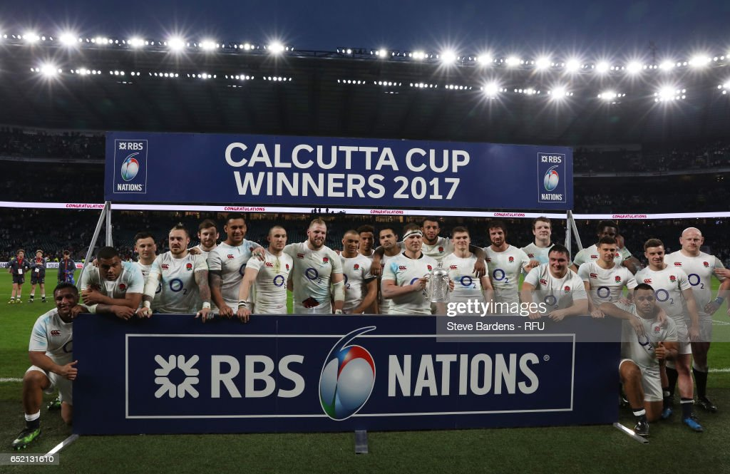 The England team celebrate with the Calcutta cup following their team's 61-21 victory during the RBS Six Nations match between England and Scotland at Twickenham Stadium on March 11, 2017 in London, England.