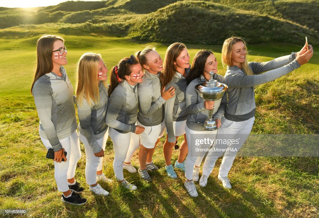 The England team celebrate with the Stroyan Cup after winning the Girls' title at the Ladies' and Girls' Home Internationals at Ballybunion Golf Club on August 10, 2018 in Ballybunion, Ireland.