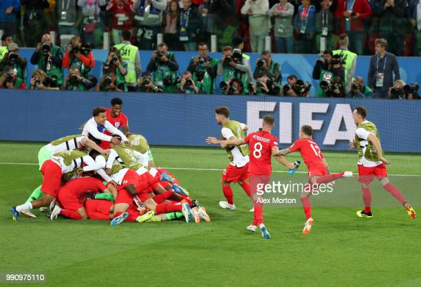 The England team celebrates victory after the 2018 FIFA World Cup Russia Round of 16 match between Colombia and England at Spartak Stadium on July 3...