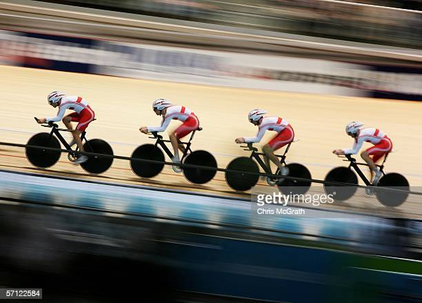 The England team compete in the Men's Team Pursuit Final during track cycling at the Melbourne Park Multi Purpose Venue during day three of the...