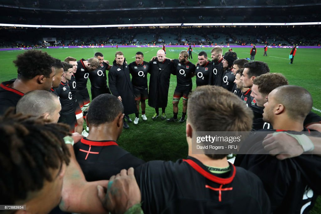 The England team create a huddle after the Old Mutual Wealth Series match between England and Argentina at Twickenham Stadium on November 11, 2017 in London, England.