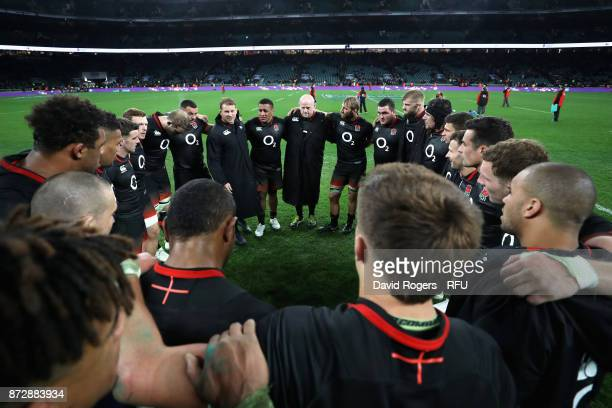 The England team create a huddle after the Old Mutual Wealth Series match between England and Argentina at Twickenham Stadium on November 11 2017 in...