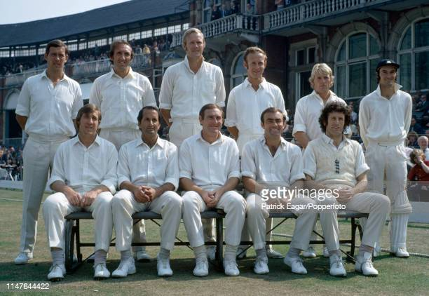The England team during the 5th Test match between England and Australia at The Oval London 10th August 1972 Pictured are John Hampshire Geoff Arnold...