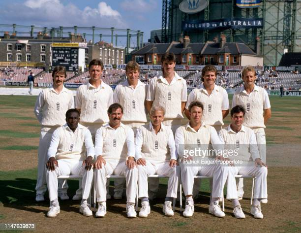 The England team during the 6th Test match between England and Australia at The Oval London 28th August 1989 Pictured are Jack Russell John...