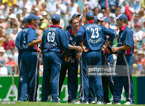 The England team during the VB Series One Day International between Australia and England at the MCG Melbourne Australia 15th December 2002 players...