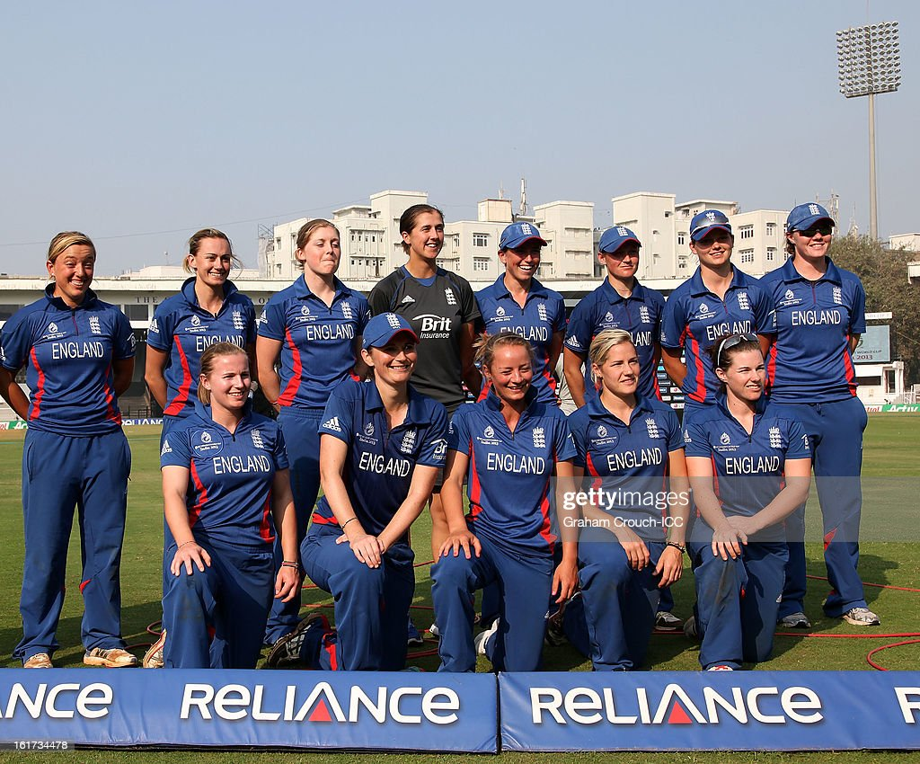 The England team following their victory in the 3rd/4th Place Play-Off game between England and New Zealand at the Women's World Cup India 2013 at the Cricket Club of India ground on February 15, 2013 in Mumbai, India.