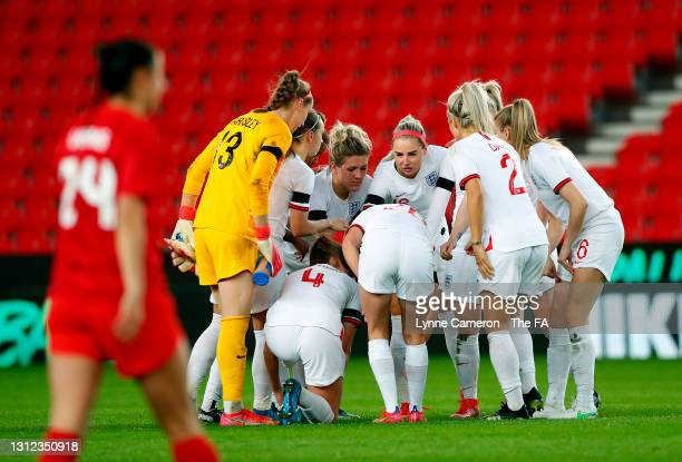 The England team form a huddle on the pitch prior to the start of the second-half during the International Friendly match between England and Canada...