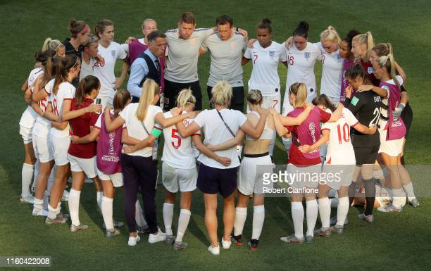 The England team form a team huddle after the 2019 FIFA Women's World Cup France 3rd Place Match match between England and Sweden at Stade de Nice on...