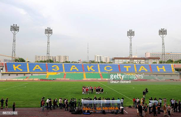 The England team gather on the pitch during a training session at the Central Stadium on June 5 2009 in Almaty Kazakhstan