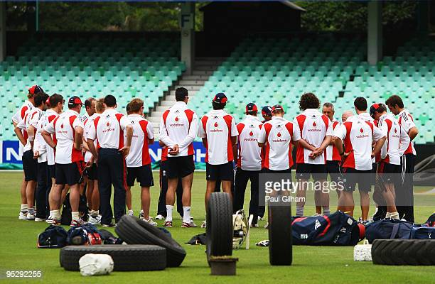 The England team gather together for a teamtalk with England coach Andy Flower during an England nets session at Kingsmead Cricket Ground on December...