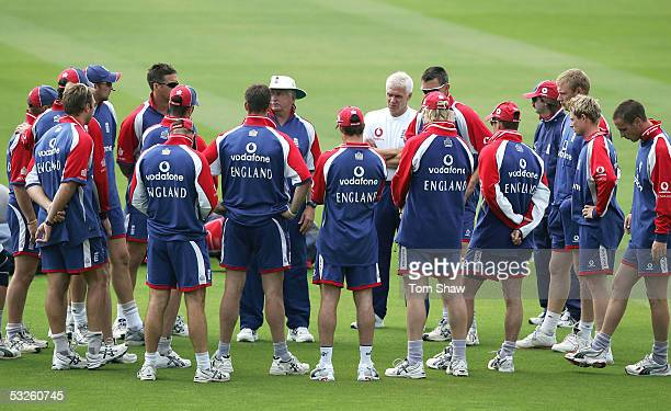 The England team have a final talking to from coach Duncan Fletcher during the England nets session at Lords on July 20 2005 in London, England.