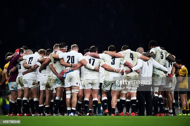 The England team huddle during the QBE international match between England and Australia at Twickenham Stadium on November 29, 2014 in London,...