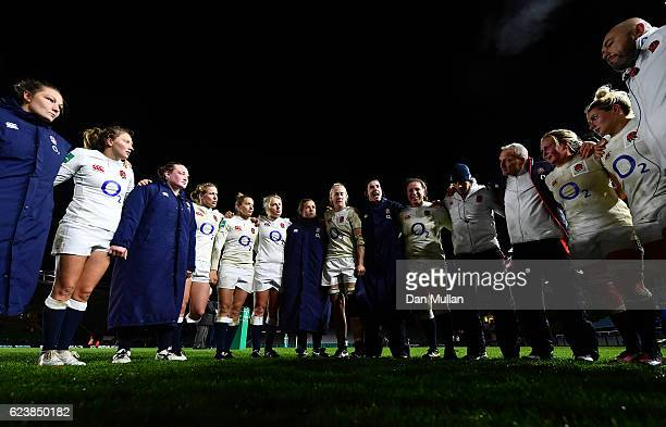 The England team huddle following their victory during the Old Mutual Wealth Series match between England Women and France Women at Twickenham Stoop...
