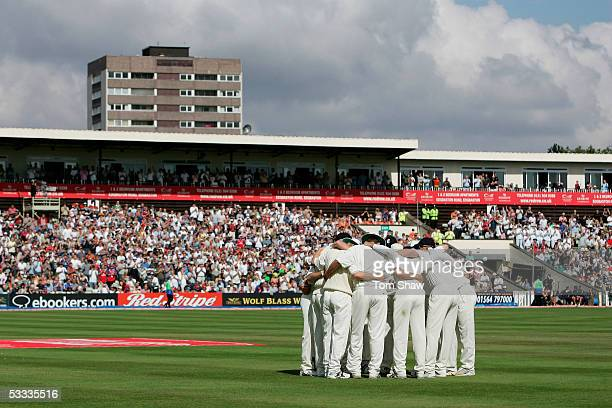The England team huddle together before the start of play on day four of the Second npower Ashes Test match between England and Australia at...