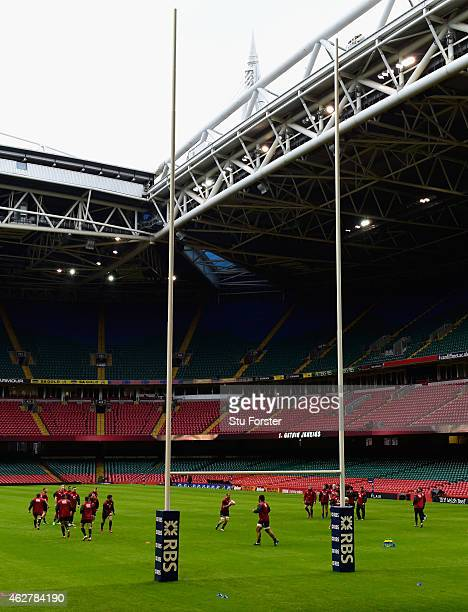 The England team in action during England's captains run ahead of tomorrows Six Nations match against Wales at Millenium Stadium on February 5 2015...