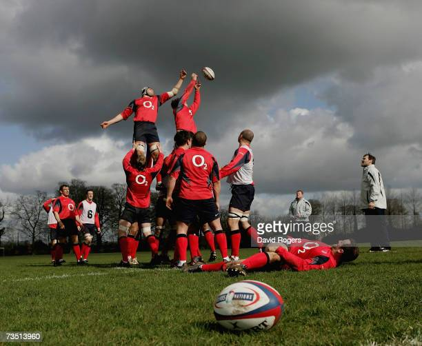 The England team in lineout practice during the England rugby training session held at Bath University on March 7 2007 in Bath United Kingdom