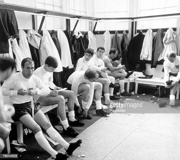 The England team in the dressing room at Wembley Stadium during a friendly match against Yugoslavia 4th May 1966 England won the fixture 20 England...