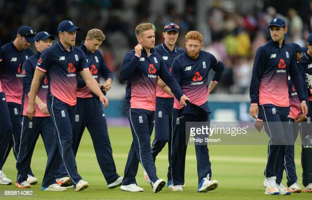 The England team leave the field after the 3rd Royal London oneday international cricket match between England and South Africa at Lord's cricket...