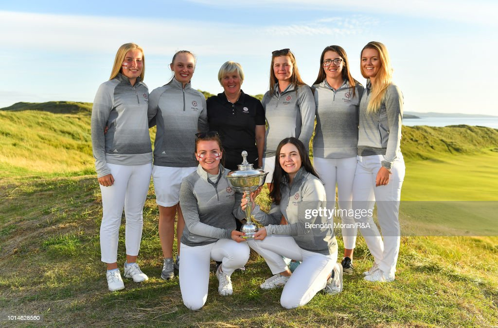 The England team, led by captain Jane Melville celebrate with the Stroyan Cup after winning the Girls' title at the Ladies' and Girls' Home Internationals at Ballybunion Golf Club on August 10, 2018 in Ballybunion, Ireland.