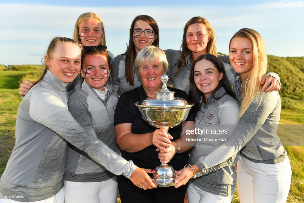 The England team, led by captain Jane Melville, front row, centre, celebrate with the Stroyan Cup after winning the Girls' title at the Ladies' and Girls' Home Internationals at Ballybunion Golf Club on August 10, 2018 in Ballybunion, Ireland.