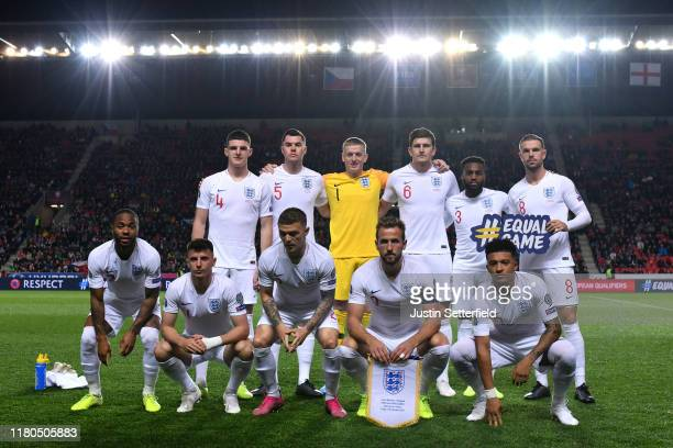 The England team line up ahead of the UEFA Euro 2020 qualifier between Czech Republic and England at Sinobo Stadium on October 11 2019 in Prague...