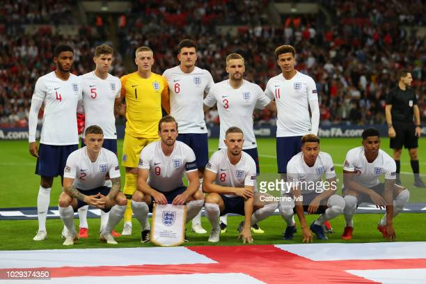The England team line up ahead of the UEFA Nations League A group four match between England and Spain at Wembley Stadium on September 8 2018 in...