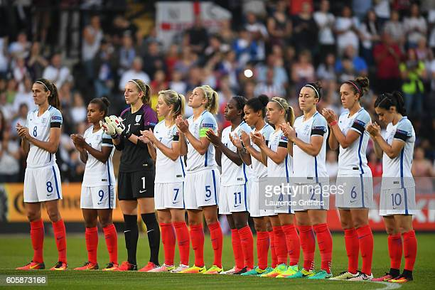 The England team line up ahead of the UEFA Women's Euro 2017 Qualifier between England and Estonia at Meadow Lane on September 15 2016 in Nottingham...