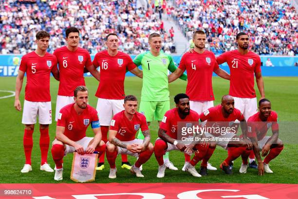 The England team line up before the 2018 FIFA World Cup Russia 3rd Place Playoff match between Belgium and England at Saint Petersburg Stadium on...