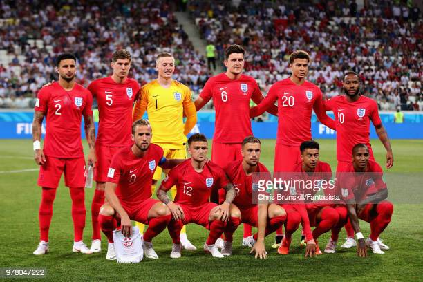 The England team line up before the 2018 FIFA World Cup Russia group G match between Tunisia and England at Volgograd Arena on June 18 2018 in...