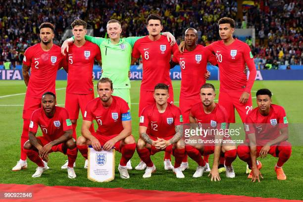 The England team line up before the 2018 FIFA World Cup Russia Round of 16 match between Colombia and England at Spartak Stadium on July 3 2018 in...