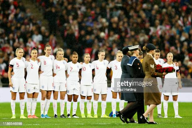 The England team line up before the International Friendly between England Women and Germany Women at Wembley Stadium on November 09 2019 in London...
