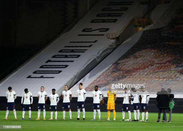 The England team line up before the UEFA Euro Under 21 Qualifier match between England U21 and Andorra U21 at Molineux on November 13, 2020 in...