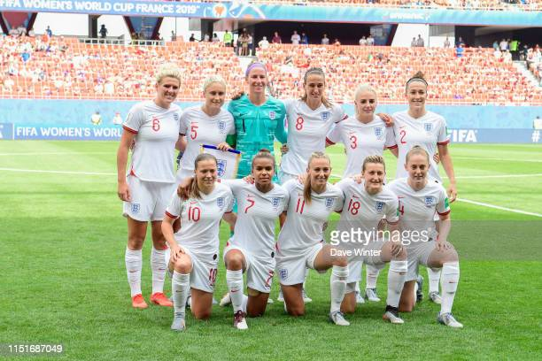 The England team line up before the Women's World Cup match between England and Cameroon at Stade du Hainaut on June 23, 2019 in Valenciennes, France.