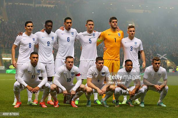 The England team line up during the International Friendly between Scotland and England at Celtic Park Stadium on November 18 2014 in Glasgow Scotland