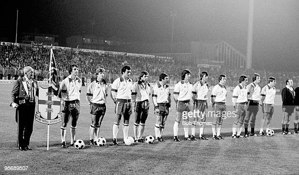 The England team line up during the National Anthems before their World Cup Qualifying match against Luxembourg at the Municipal Stadium in...
