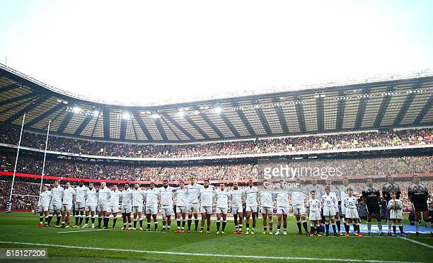 The England team line up during the RBS Six Nations match between England and Wales at Twickenham Stadium on March 12 2016 in London England