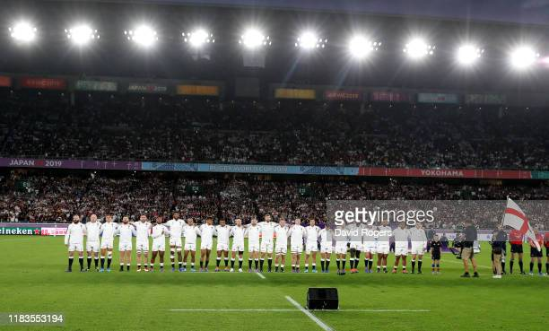 The England team line up during the Rugby World Cup 2019 SemiFinal match between England and New Zealand at International Stadium Yokohama on October...