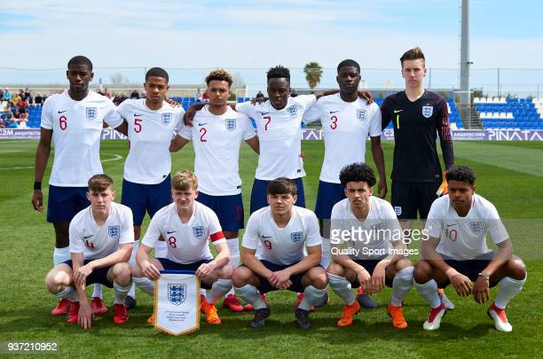 The England team line up for a photo prior to kick off during the international friendly match between England U17 and Brazil U17 at Pinatar Arena on...