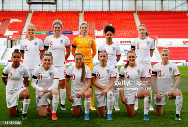 The England team line up for a photo prior to the International Friendly match between England and Canada at Bet365 Stadium on April 13, 2021 in...