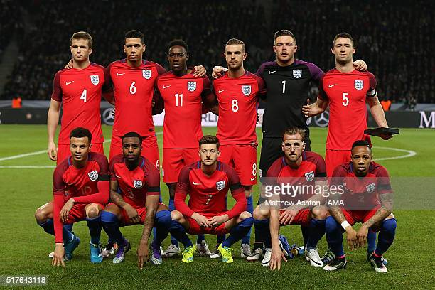 The England team line up for a team photo prior to the International Friendly match between Germany and England at Olympiastadion on March 26 2016 in...