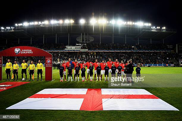 The England team line up for the national anthem prior to kickoff during the EURO 2016 Qualifier match between Estonia and England at A Le Coq Arena...