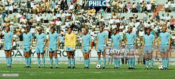 The England team line up for the National anthems prior to the FIFA World Cup match between England and Czechoslovakia at the Jalisco Stadium in...