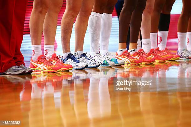 The England team line up for their national anthem during the 2015 Netball World Cup match between England and Scotland at Allphones Arena on August...