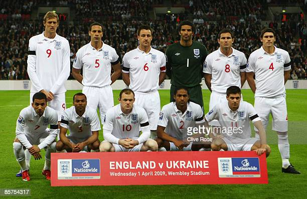 The England team line up prior to the FIFA 2010 World Cup Group 6 Qualifying match between England and Ukraine at Wembley Stadium on April 1 2009 in...